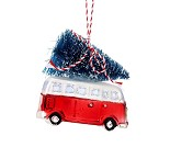 Juletrepynt med minibuss og juletre