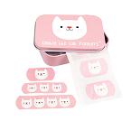 Rosa plaster med katt i fin metallboks