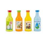 Sett med fire flasker, lekemat i tre