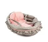 Grå og rosa bærebag til dukke, 50 cm
