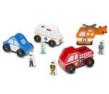 Sett med redningskjøretøy og figurer i tre