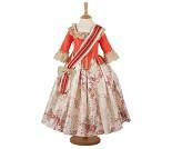 Rød prinsessekjole i gammeldags stil