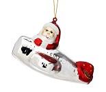 Juletrepynt med nisse i fly
