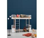 Hvit/eik høyseng med frontstige - Oliver Furniture