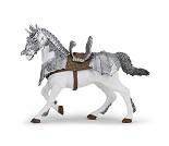 Hest med rustning, miniatyrfigur fra PAPO