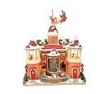 Hus med julenisse og reinsdyr, julepynt med musikk