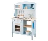 Blått lekekjøkken med mikro og tallerkenhylle