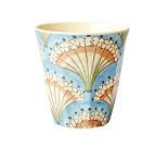 Blå kopp i melamin med blomsterbukett, 9 cm - Rice
