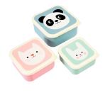 3 små matbokser med søte dyr