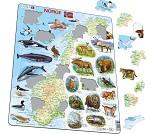 Puslespill med Norgeskart og norske dyr, 62 biter