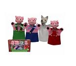 De tre små griser, hånddukkesett med 4 dukker