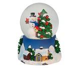 Snøkule med snømann og juletre, 8 cm