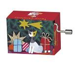Spilledåse med katt og julegaver, Merry Christmas