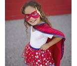 Superheltkappe, skjørt og maske, 4-7 år, kostyme