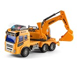 Lastebil med graver og lyd og lys, 28 cm