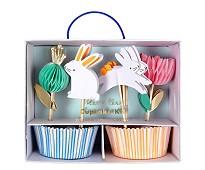Cupcake kit, kanin og blomst, 24 stk - Meri Meri
