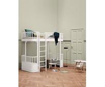 Hvit høyseng med frontstige - Oliver Furniture