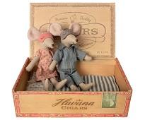 Mor og far mus i eske, 15 cm - Maileg