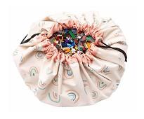 Oppbevaringspose og leketeppe med regnbue