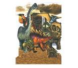 3D-postkort med dinosaurer