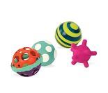 Aktivitetsballer til baby med ulike teksturer, 4pk