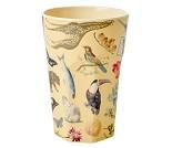 Beige kopp i melamin med kunstprint fra Rice, 13cm