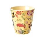 Kopp i melamin med blomster og fugler, Rice, 9 cm