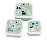 3 små matbokser med hunder