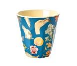 Blå kopp i melamin med kunstprint fra Rice, 9 cm