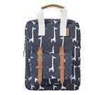 Blå ryggsekk med sjiraff, 28 x 21 cm