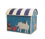 Blått kurvhus med dyr, oppbevaringskurv fra Rice