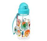 Drikkeflaske med jungeldyr, blått lokk med sugerør