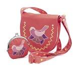 Rosa veske og lommebok med fugl fra Djeco