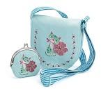 Blå veske og lommebok med katt fra Djeco