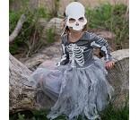 Heksekjole og maske med skjelett, 7-8 år, kostyme
