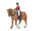 Hest med jente miniatyrfigur - Papo