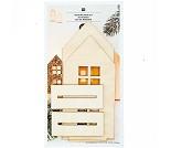 Hus med 3D-effekt, 2 stk, julepynt