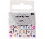 Kubeformede perler med hjerter, 72stk