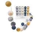 Blå og beige, lyslenke med 20 baller