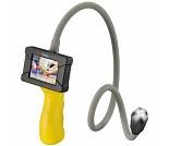 Kamera med linse på bøybar stang, lys og skjerm