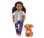 Malia, dukke og hund fra Our Generation