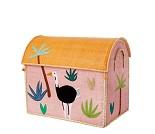 Oppbevaring, kurvhus med rosa jungel, 46x26 - Rice