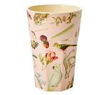 Rosa kopp i melamin med kunstprint fra Rice, 13 cm