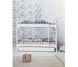 Hvit køyeseng med loddrett stige- Oliver Furniture