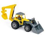 Gul traktor med graver, 48 cm