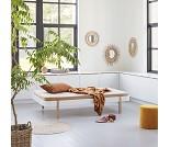 Wood dagseng 120 cm, hvit/eik