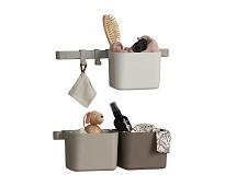 3 brune oppbevaringsbokser, kort skinne - Leander
