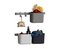 3 grå oppbevaringsbokser, kort skinne - Leander