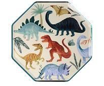 Papptallerken med dinosaur, 8 stk fra Meri Meri