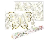 Fargeleggingsplakat, sommerfugler 2pk - Meri Meri